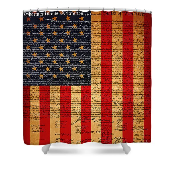 The United States Declaration of Independence And The American Flag 20130215 Shower Curtain by Wingsdomain Art and Photography