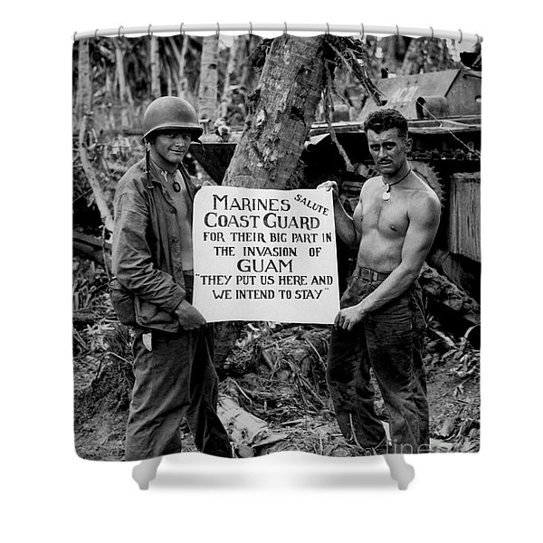 The U.s. Marines Salute The U.s. Coast Shower Curtain by Stocktrek Images
