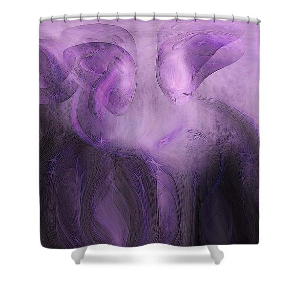The Visitors Shower Curtain by Linda Sannuti