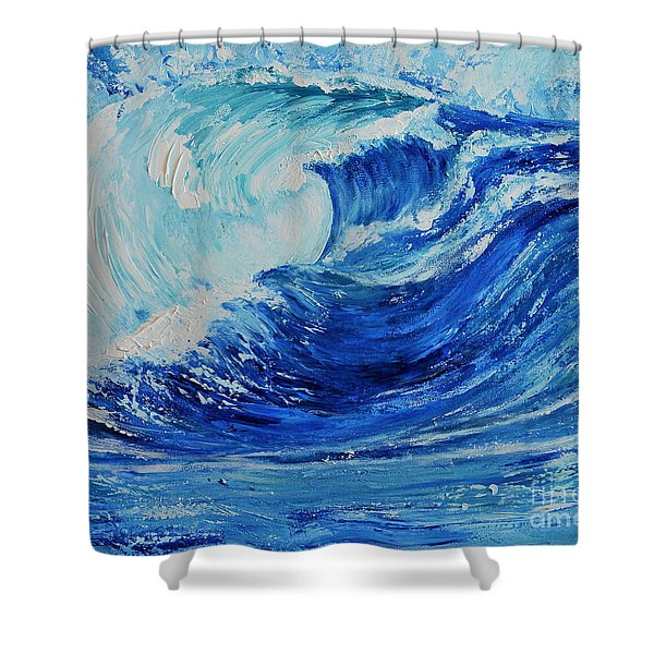 The Wave Shower Curtain by Teresa Wegrzyn