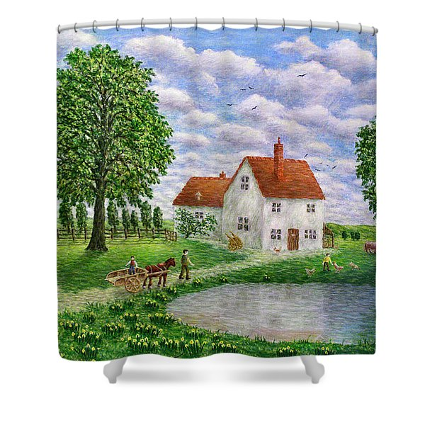 The White Farm Shower Curtain by RONALD HABER