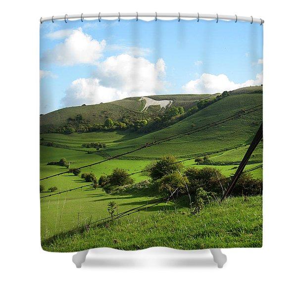 The White Horse Westbury England Shower Curtain by Kurt Van Wagner