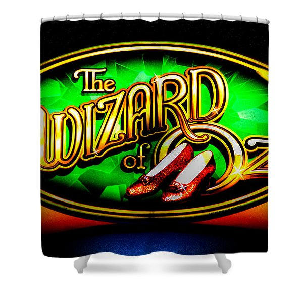 The Wizard Of Oz Casino Sign Shower Curtain by David Patterson