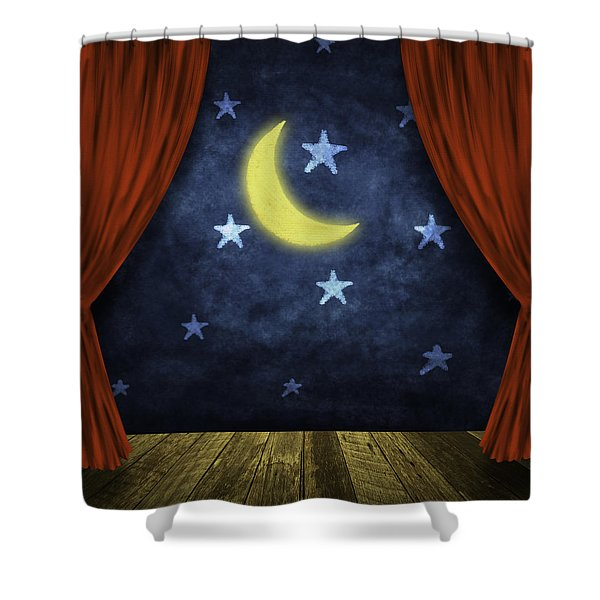 theater stage with red curtains and night background  Shower Curtain by Setsiri Silapasuwanchai