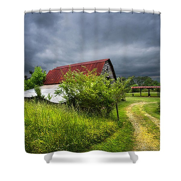 Thunder Road Shower Curtain by Debra and Dave Vanderlaan