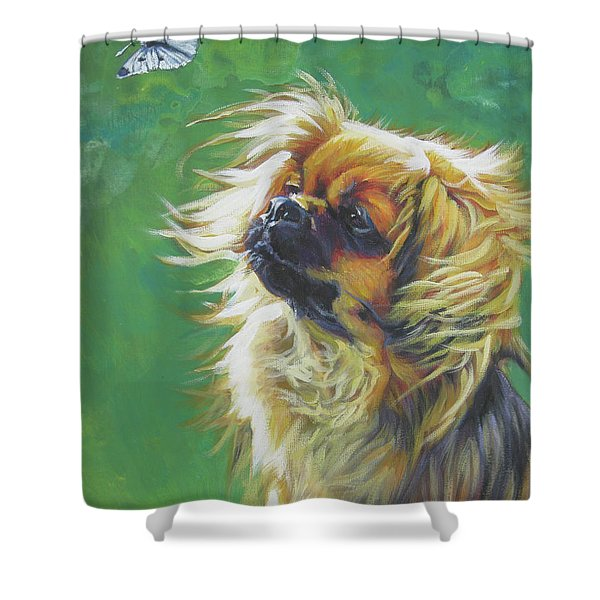 Tibetan Spaniel and cabbage white butterfly Shower Curtain by Lee Ann Shepard