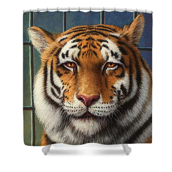 Tiger In Trouble Shower Curtain by James W Johnson