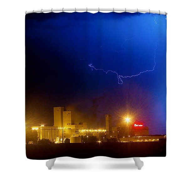 To The Right Budweiser Lightning Strike Shower Curtain by James BO  Insogna
