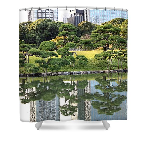 Tokyo Trees Reflection Shower Curtain by Carol Groenen