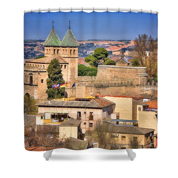 Toledo Town View Shower Curtain by Joan Carroll