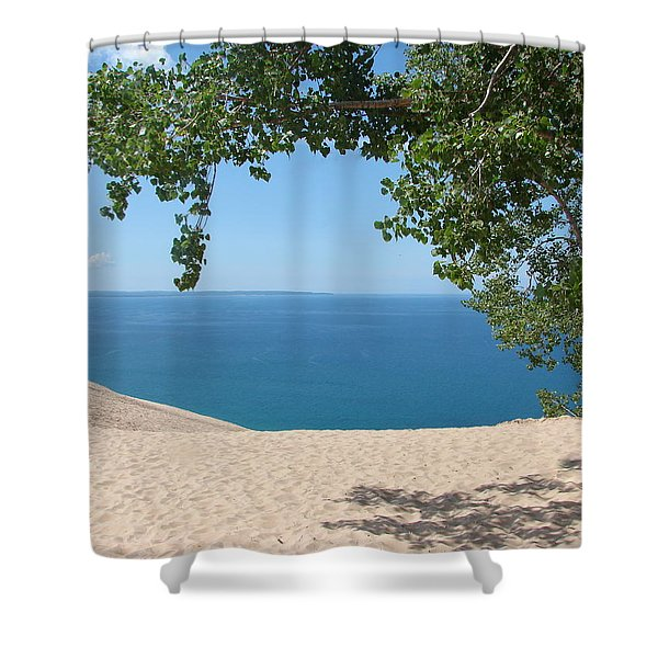 Top of the Dune at Sleeping Bear Shower Curtain by Michelle Calkins
