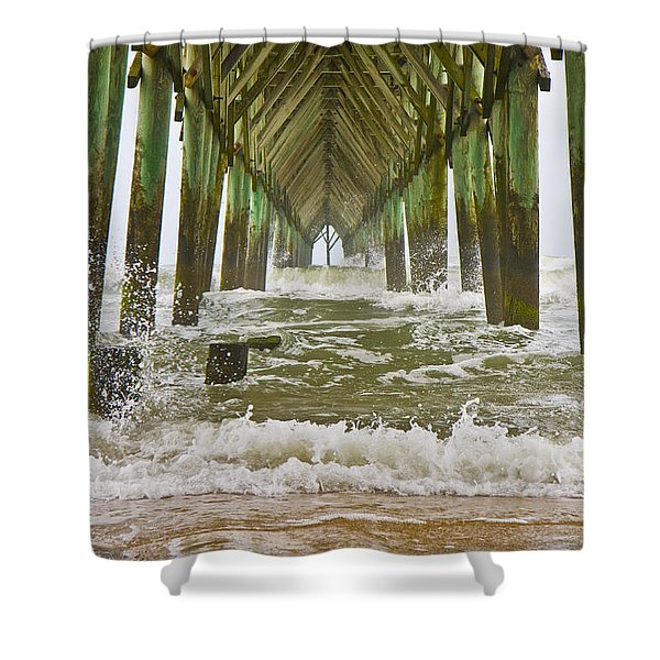 Topsail Island Pier Shower Curtain by Betsy C  Knapp