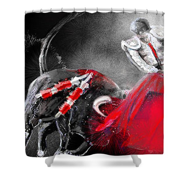 Toro Tarantino Shower Curtain by Miki De Goodaboom