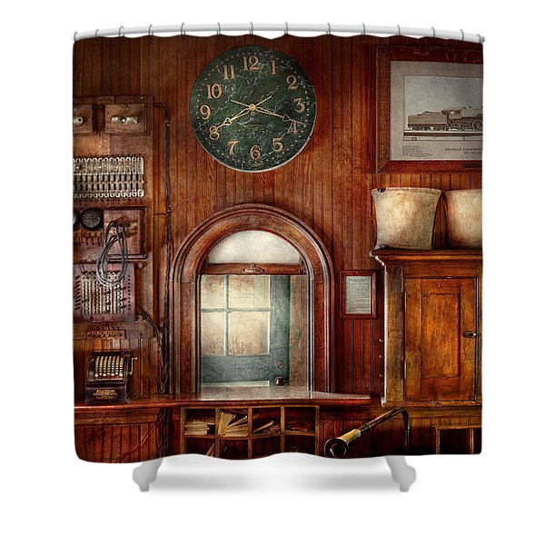 Train - Office - The Ticket Takers Window Shower Curtain by Mike Savad