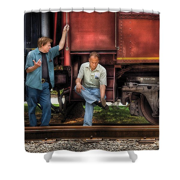 Train - Yard - Shoot'in The Breeze Shower Curtain by Mike Savad