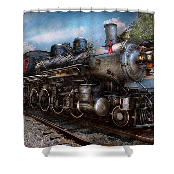 Train - Steam - 385 Fully Restored Shower Curtain by Mike Savad