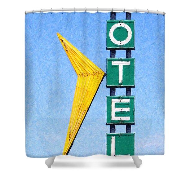 Travelers Motel Tulsa Oklahoma Shower Curtain by Wingsdomain Art and Photography