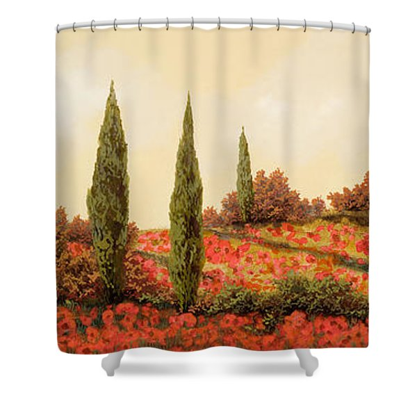 tre case tra i papaveri Shower Curtain by Guido Borelli