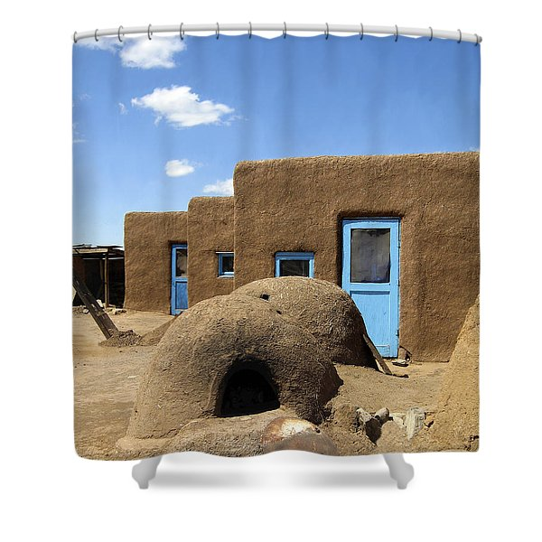 Tres Casitas Taos Pueblo Shower Curtain by Kurt Van Wagner