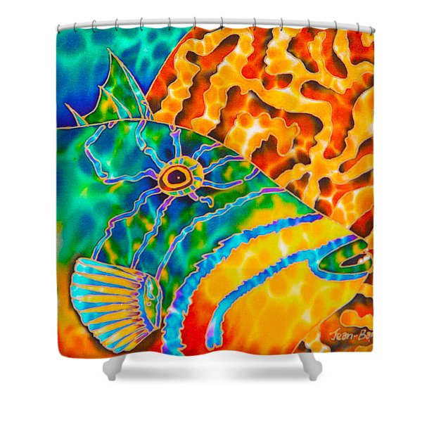 Trigger and Brain Coral Shower Curtain by Daniel Jean-Baptiste
