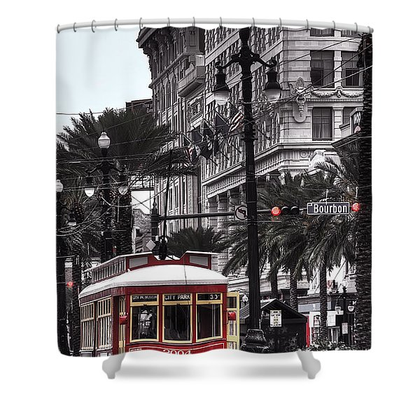 Trolley On Bourbon And Canal Shower Curtain by Tammy Wetzel