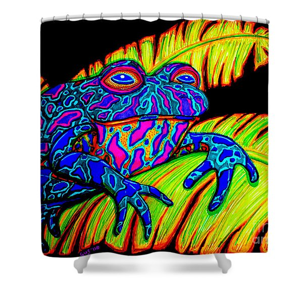 Tropical Frog Shower Curtain by Nick Gustafson