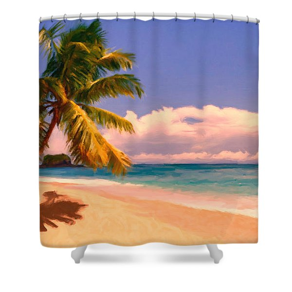 Tropical Island 6 - Painterly Shower Curtain by Wingsdomain Art and Photography