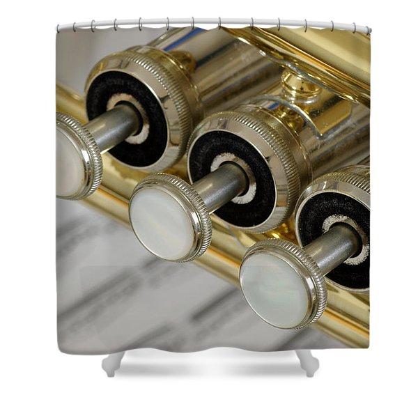 Trumpet Valves Shower Curtain by Frank Tschakert
