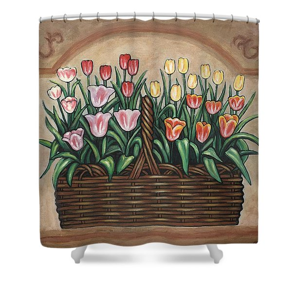 Tulip Basket Shower Curtain by Linda Mears