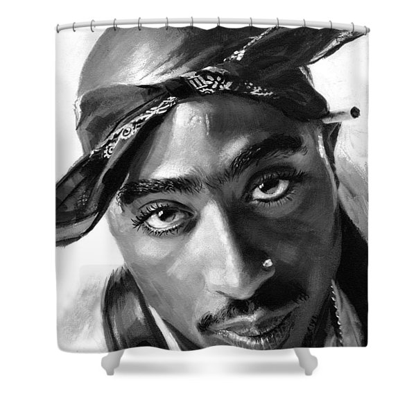 Tupac Shakur Shower Curtain by Ylli Haruni