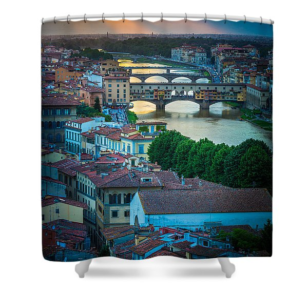 Tuscan Sunbeams Shower Curtain by Inge Johnsson