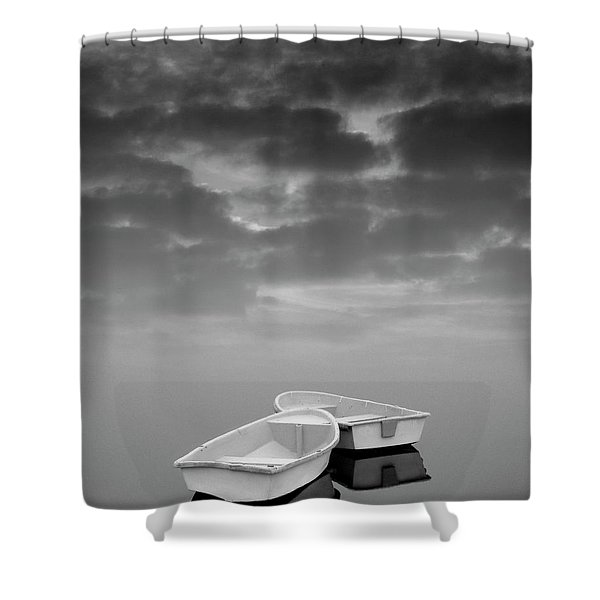 Two Boats And Clouds Shower Curtain by Dave Gordon