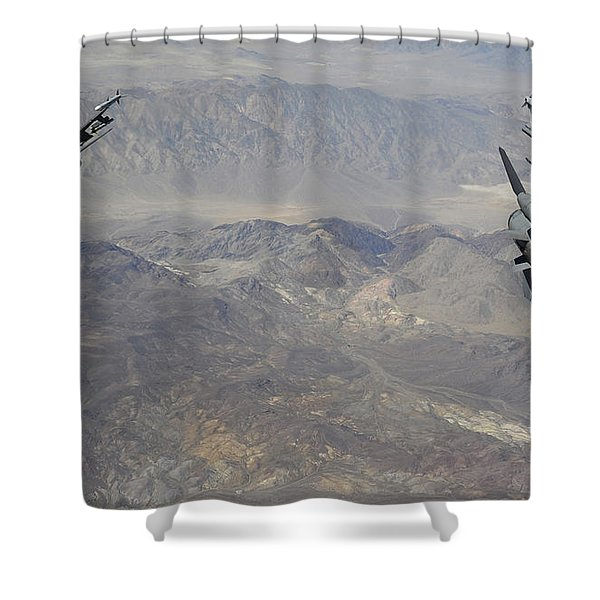Two F-16 Fighting Falcons Break Shower Curtain by Stocktrek Images