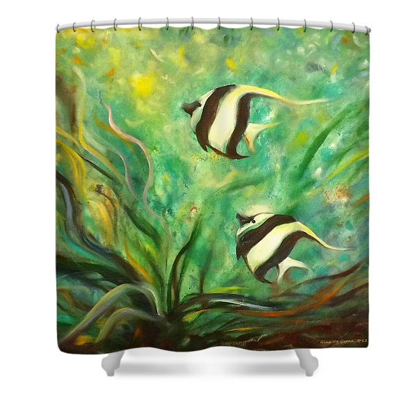 Shower Curtains - Two Fish Shower Curtain by Gina De Gorna