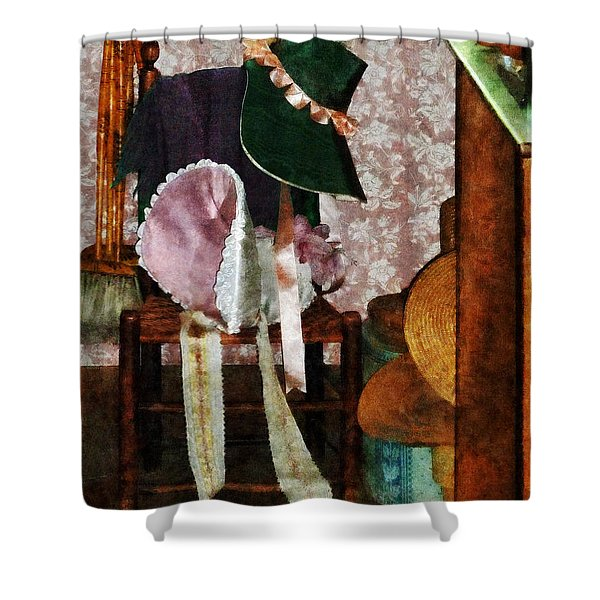 Two Old-Fashioned Bonnets Shower Curtain by Susan Savad