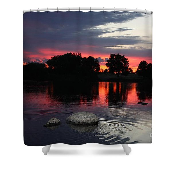 Two Rocks Sunset in Prosser Shower Curtain by Carol Groenen