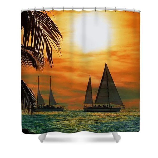 Two Ships Passing in the Night Shower Curtain by Bill Cannon