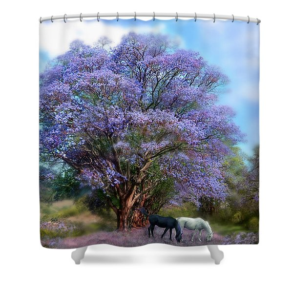 Under The Jacaranda Shower Curtain by Carol Cavalaris