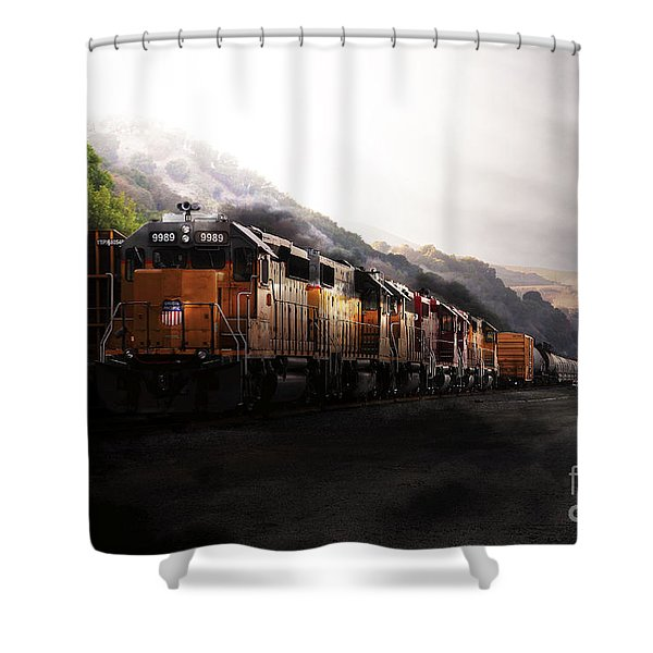 Union Pacific Locomotive At Sunrise . 7d10561 Shower Curtain by Wingsdomain Art and Photography