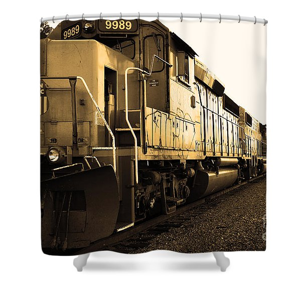 Union Pacific Locomotive Trains . 7d10588 . Sepia Shower Curtain by Wingsdomain Art and Photography
