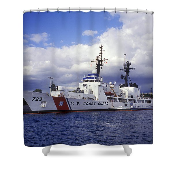 United States Coast Guard Cutter Rush Shower Curtain by Michael Wood
