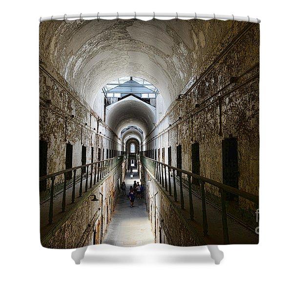 Upper Cell Blocks Shower Curtain by Paul Ward