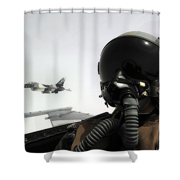 U.s. Air Force Pilot Takes Shower Curtain by Stocktrek Images