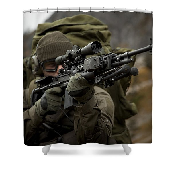U.s. Special Forces Soldier Armed Shower Curtain by Tom Weber