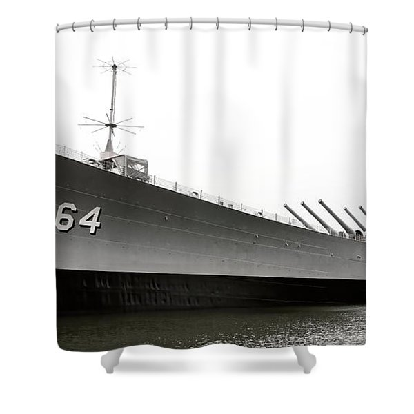 Uss Wisconsin - Port-side Shower Curtain by Christopher Holmes