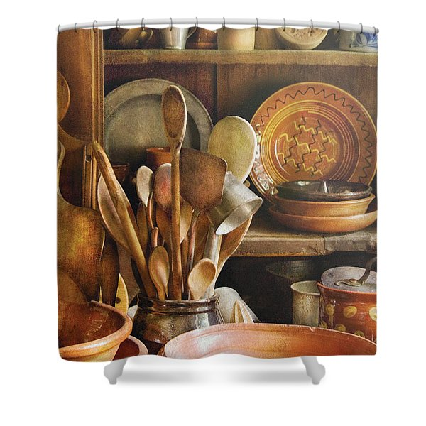 Utensils - Remembering Momma Shower Curtain by Mike Savad