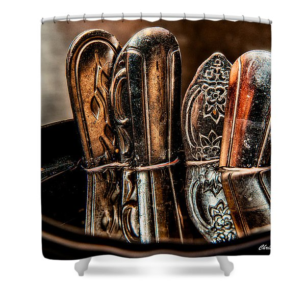 Utensils Reflected Shower Curtain by Christopher Holmes