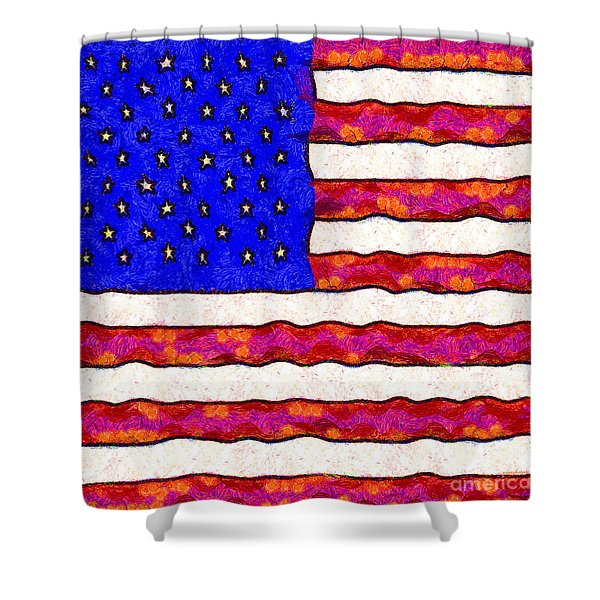 Van Gogh.s Starry American Flag . Square Shower Curtain by Wingsdomain Art and Photography