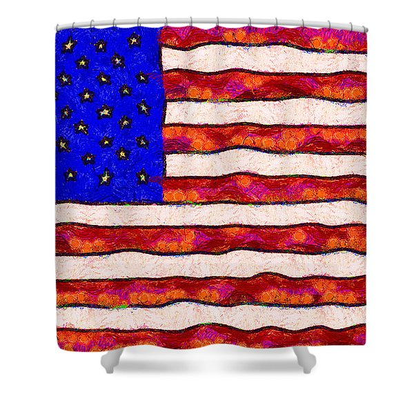 Van Gogh.s Starry American Flag Shower Curtain by Wingsdomain Art and Photography