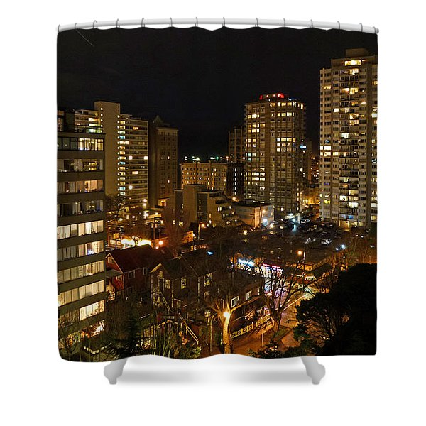 Vancouver Skyline Shower Curtain by Nancy Harrison